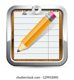 notepad and pencil icon - vector illustration