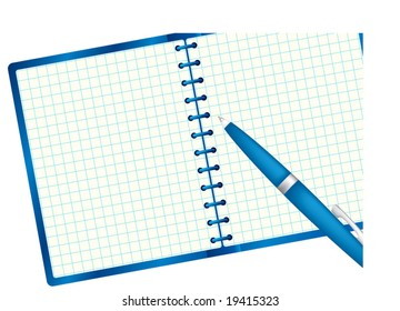 Notepad for sample text and pen. Clipping mask include. Blue palette. Vector illustration. Isolated on white background.