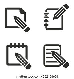 Notepad vector icons set. Illustration isolated for graphic and web design.