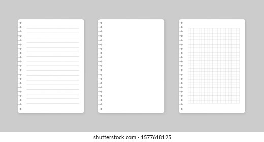 Notepads with empty lined and checkered paper. Set of notebooks sheets. Vector illustration