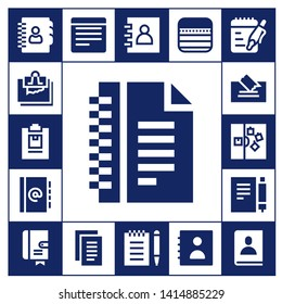 notepaper icon set. 17 filled notepaper icons.  Collection Of - Agenda, Note, Notepad, Notes