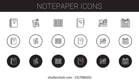 notepaper icons set. Collection of notepaper with notebook, notes, agenda, note. Editable and scalable notepaper icons.