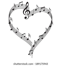 Notes in heart. Vector black and white image of music in the form of heart.