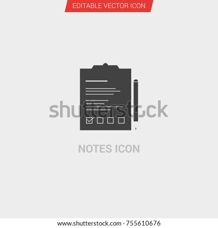 49818f905b04 Notes Icon Dark Grey New Trendy Stock Vector (Royalty Free ...