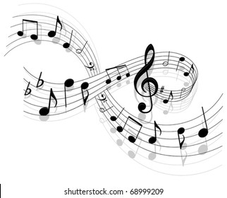Notes with music elements as a musical background design. Jpeg version also available in gallery