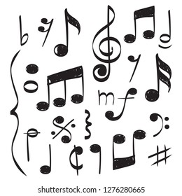 Notes music. Vector hand drawn muzician staff treble clef for song vector concept pictures