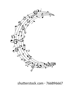 Notes on the moon shape path. Music decoration element isolated on the white background.