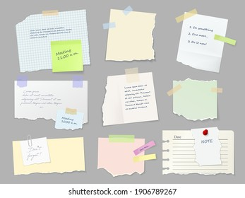 Notes paper sheets attached with adhesive tape. Meeting reminder, to-do list and memo notice, letter on piece of paper, notepad or notebook page with torn sides and stickers 3d realistic vector set