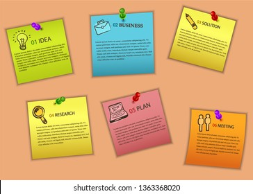 Notes papers collection with steps. Educational infografics. vector.