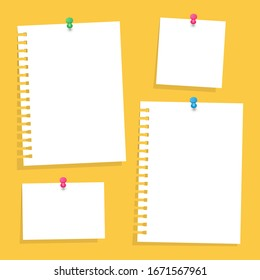 Notes Pinned to the Wall by Button. Planning, Business, Work, Study. Vector Illustration. Isolated Background