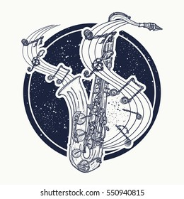 Notes take off from a saxophone, musical tattoo and t-shirt design. Sax and notes