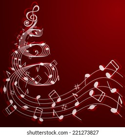 Notes and treble clef in the shape of a Christmas tree on a red background .