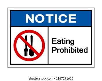 Notice Eating Prohibited Symbol Sign,Vector Illustration, Isolate On White Background Symbol. EPS10