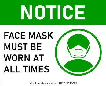 Notice Face Mask Must Be Worn at All Times Horizontal Warning Poster Sign against the Spread of Coronavirus with an Aspect Ratio of 4:3. Vector Image.