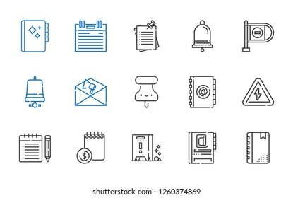 notice icons set. Collection of notice with agenda, wet floor, note, high voltage, pushpin, notification, notification bell, wrong way, notes. Editable and scalable notice icons.