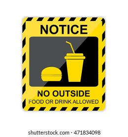 Notice, No outside food or drink allowed Sign. Vector