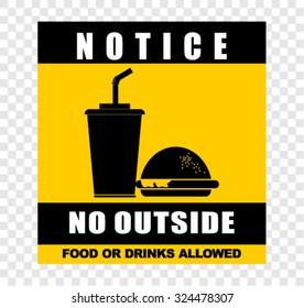 notice, no outside, sticker