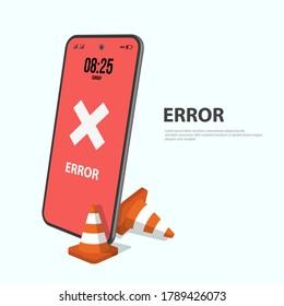 notice on the smart phone screen vector icon. Alert, warning, virus, error