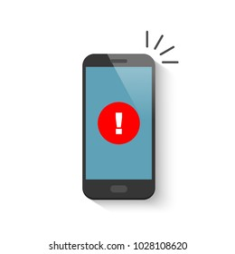 Notice on the smartphone screen. Vector illustration in flat style.