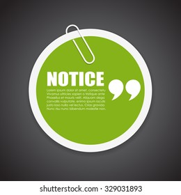 Notice vector note paper isolated on black background
