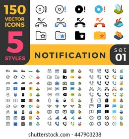 Notification bar alert web mobile UI vector icon set in Linear outline flat isometric styles. Five types software and website symbols of 2d and 3d objects. App user interface elements collection.