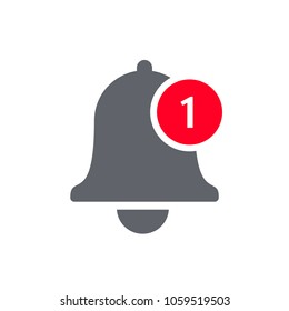 Notification bell icon for incoming inbox message. Vector bell and notification number sign for smartphone application
