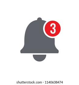 Notification bell icon for incoming inbox message. Application button vector design.