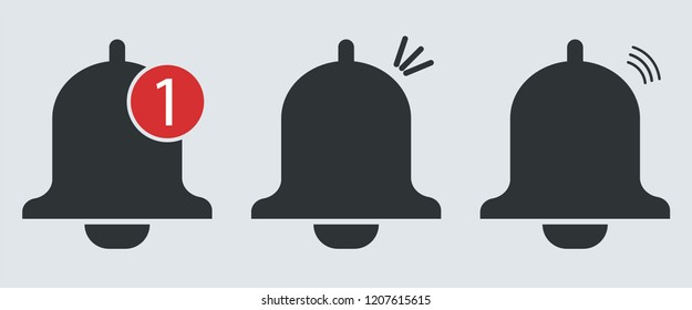 Notification bell icon for incoming inbox message. Bell icon.  Vector illustration.