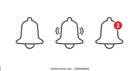Notification bell icon. Incoming inbox message. Alarm icon. Vector illustration