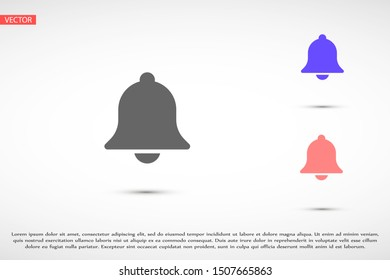 Notification bell icon for incoming inbox message. Bell for alarm clock and smartphone application alert icon. Bell Icon in trendy flat style isolated on grey background. Bell flat design icon.