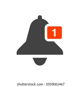 Notification bell icon. Minimalistic design. Incoming messages concept. Receive message icon. Receive mail icon. Alarm icon.