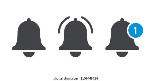 Notification bell or incoming inbox message vector icon