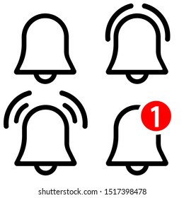 Notification bell vector icons set. reminder illustration symbol collection. notice sign or logo.