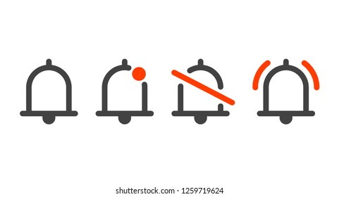 Notification bells icons set. Minimalistic design. Incoming messages concept. Do not disturbe icon. Alarm icon. New incoming email, message icon.