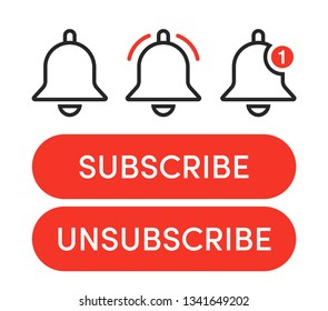 Notification bells icons set. Minimalistic design. Incoming messages concept. Do not disturbe icon. Alarm icon. Subscribe, unsubscribe buttons.