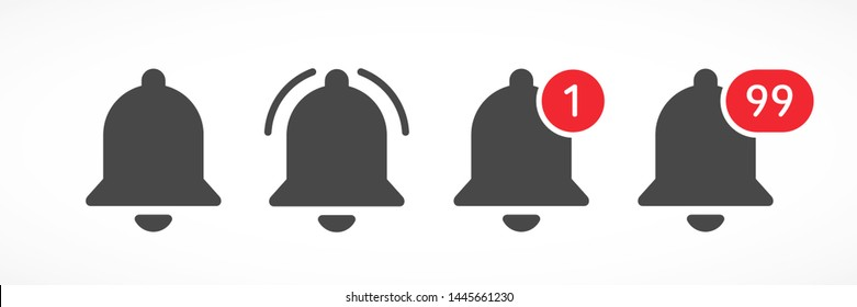 Notification bells social media. Message bell icon. Set bell symbols for web, app, ui. Social media concept. Vector illustration. EPS 10