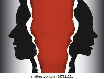 Notification of divorce concept. Ripped paper with man and woman silhouettes symbolizing divorced couple.Place for your text or image.Vector available.