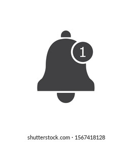 Notification icon flat style. Vector bell icon