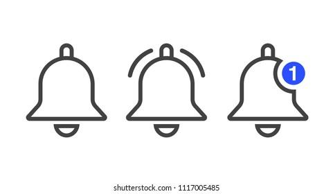 Notification icon vector, material design, Social Media element, User Interface sign, EPS, UI, Image, Illustration. New message. Bells set.