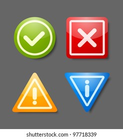 Notification icons suitable for custom web design and computer purposes