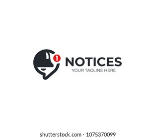 Notification logo template. Bell and speech bubble vector design. New message notification logotype