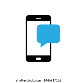 Notification message on the smartphone. SMS in the form of speech balloon on the smartphone screen. Vector illustration. EPS 10