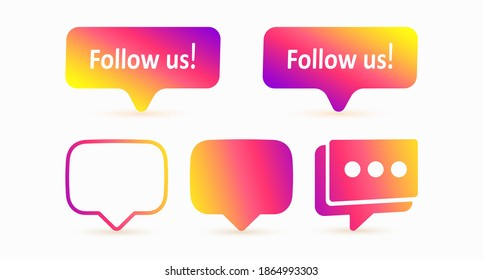 Notification messages in the style of the social network. A set of message forms for the user interface. Follow us icon. Vector illustration