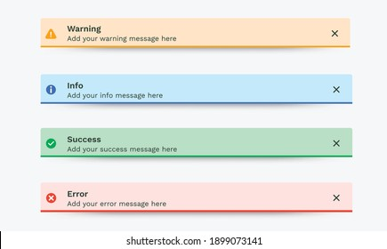 Notification messages, Success, Warning, Error, Info. Toast, push notification, pop-up notification, passive popup, snack bar, desktop notification message for web design, mobile. Vector UI Elements.