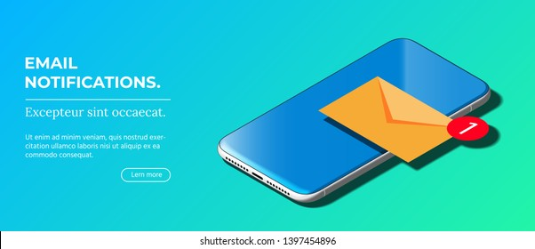 Notification of New Email on Your Mobile Phone. Mail icon. Beautiful Modern Abstract Smart Phone on Blue Background. Isometric View. Realistic Vector. Mockup of Smartphone with Touchscreen.