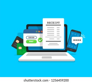 Notification on financial transaction. Laptop with electronic receipt. Online payment confirmation via SMS. Vector illustration in flat style.