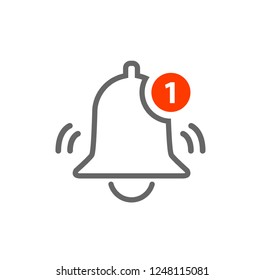 Notification Vector Icon of bell. Alarm alert message ring icon sign for notification.