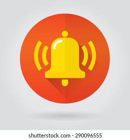 Notifications call icon with ringing bell on color round. Modern vector illustration, flat design