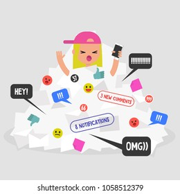 Notifications flow. Female millennial character calling for help in a pile of notifications. Flat editable vector illustration, clip art