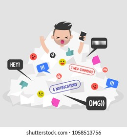 Notifications flow. Millennial character calling for help in a pile of notifications. Flat editable vector illustration, clip art